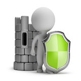 3d small people - shield and a castle Stock Photo