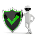 3d small person - shield with a tick. Stock Photography