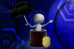 3d small person with a shield and umbrella near the Castle illustration Stock Photography