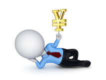 3d small person with a sign on Yen. Royalty Free Stock Photo