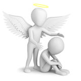 Guardian Angel!. 3d small person sitting and Guardian Angel. 3d image. On a white background stock illustration
