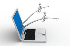 3d small person sitting with a laptop Royalty Free Stock Photography