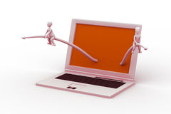 3d small person sitting with a laptop. In white background Royalty Free Stock Photo