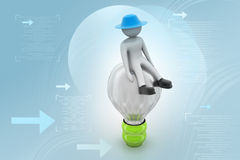 3d small person sitting on a light bulb Royalty Free Stock Images