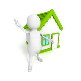 3d small person with small house. Real estate concept 3d render illustration Stock Image