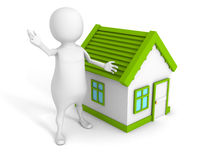 3d small person with small house. real estate concept Stock Images