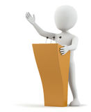 3d small person speaks at the podium. Royalty Free Stock Photos