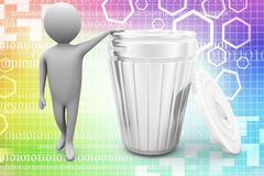 3d small person standing next to a trash can Illustration Royalty Free Stock Photos