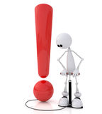 The 3D small person with a subject. Exclamation mark inflated by the pump the white little man on springs Stock Image