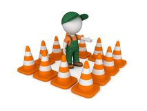 3d small person and traffic cones Royalty Free Stock Photo