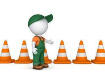 3d small person and traffic cones Royalty Free Stock Photos