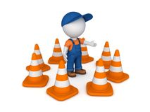 3d small person and traffic cones Royalty Free Stock Image