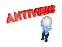3d small person and word ANTIVIRUS. Stock Photography