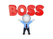 3d small person and word BOSS. Royalty Free Stock Photos