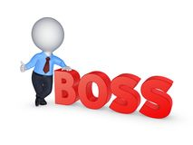 3d small person and word BOSS. Royalty Free Stock Photo