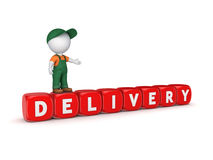 3d small person and word DELIVERY. Royalty Free Stock Photo