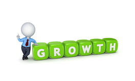 3d small person with word GROWTH. Royalty Free Stock Images
