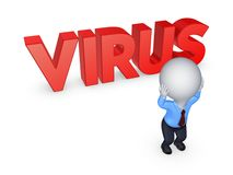 3d small person and word VIRUS. Stock Images