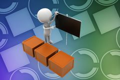 3d small person in workwear and carton box illustration Royalty Free Stock Image