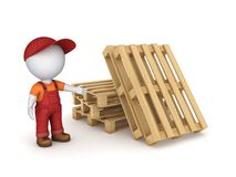 3d small person in workwear. Stock Photo