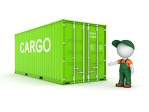 3d small person in a workwear near container. 3d small person in a workwear near container, 3d rendered illustration Royalty Free Stock Photography