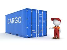 3d small person in a workwear near container. 3d small person in a workwear near container, 3d rendered illustration Royalty Free Stock Images