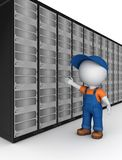 3d small person in workwear near server. Stock Image