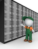3d small person in workwear near server. Stock Photo