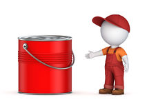 3d small person in workwear and paint can. On white Royalty Free Stock Image