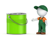 3d small person in workwear and paint can. On white Royalty Free Stock Photo