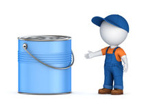 3d small person in workwear and paint can. Royalty Free Stock Photos