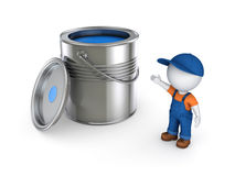 3d small person in workwear and paint can. Stock Photos