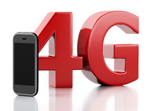 3d  smart phone with 4g lte wireless sign. Technology concept Stock Image