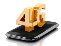 3d smart phone with 4G LTE wireless sign. Technology concept Royalty Free Stock Photo