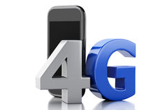 3d smart phone with 4G LTE wireless sign. Technology concept Royalty Free Stock Images