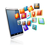 3d smart phone and icons Royalty Free Stock Photo