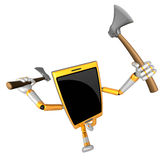 3D Smart Phone Mascot brandishes an axe with a very sharp blade. Stock Photo
