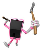 3D Smart Phone Mascot brandishes an axe with a very sharp blade. Stock Images