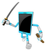 3D Smart Phone Mascot brandishes a sword with a very sharp blade Royalty Free Stock Photo