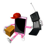 3D Smart Phone Mascot couples holding a courier box and telephon Stock Photo