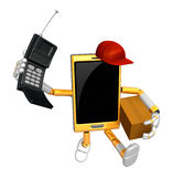 3D Smart Phone Mascot couples holding a courier box and telephon Stock Photography
