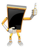 3D Smart Phone Mascot the hand best gesture. 3D Mobile Phone Cha Stock Images