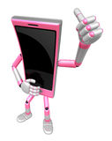 3D Smart Phone Mascot the hand best gesture. 3D Mobile Phone Cha Royalty Free Stock Images
