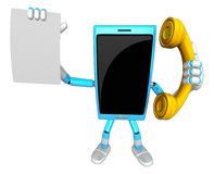 3D Smart Phone Mascot hand is holding a Document and telephone. Royalty Free Stock Photos