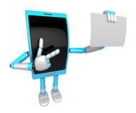 3D Smart Phone Mascot has been directed towards business card. 3 Royalty Free Stock Photo