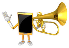 3D Smart Phone Mascot has to be playing the flugelhorn. 3D Mobil Royalty Free Stock Photography