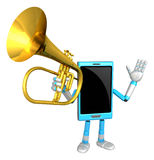 3D Smart Phone Mascot has to be playing the flugelhorn. 3D Mobil Stock Photos