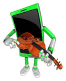 3D Smart Phone Mascot has to be playing the violin. 3D Mobile Ph Royalty Free Stock Images