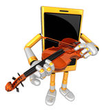 3D Smart Phone Mascot has to be playing the violin. 3D Mobile Ph Royalty Free Stock Image