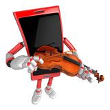 3D Smart Phone Mascot has to be playing the violin. 3D Mobile Ph Stock Photography